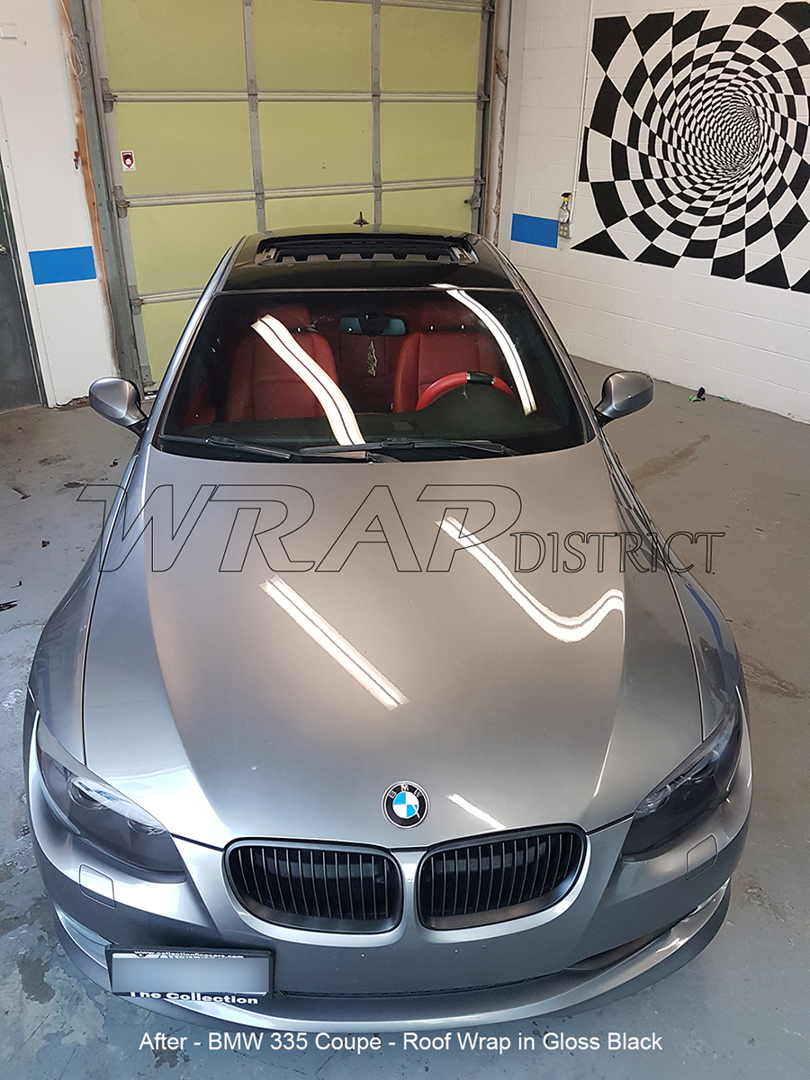Bmw 335 Coupe Roof Wrap In Gloss Black Wrap District