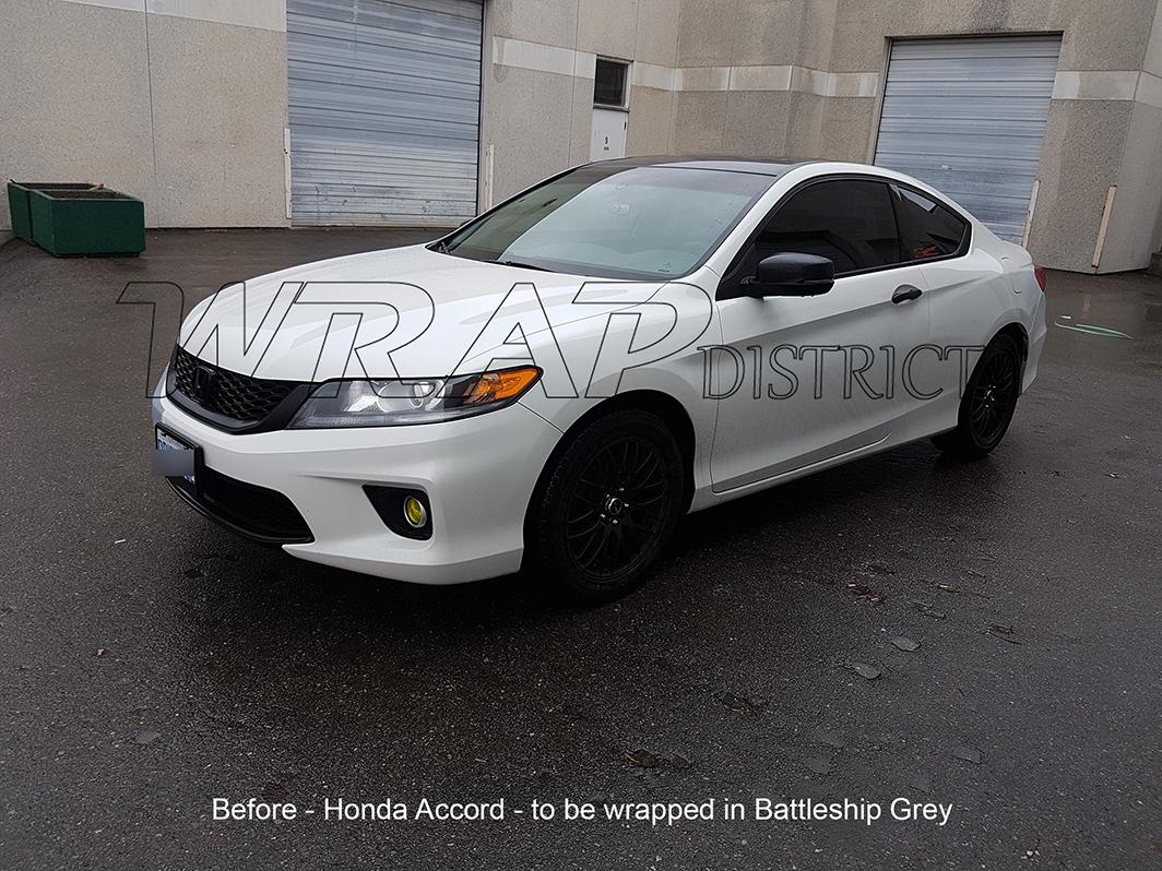 Honda accord wrapped in battleship grey wrap district for Grey honda accord