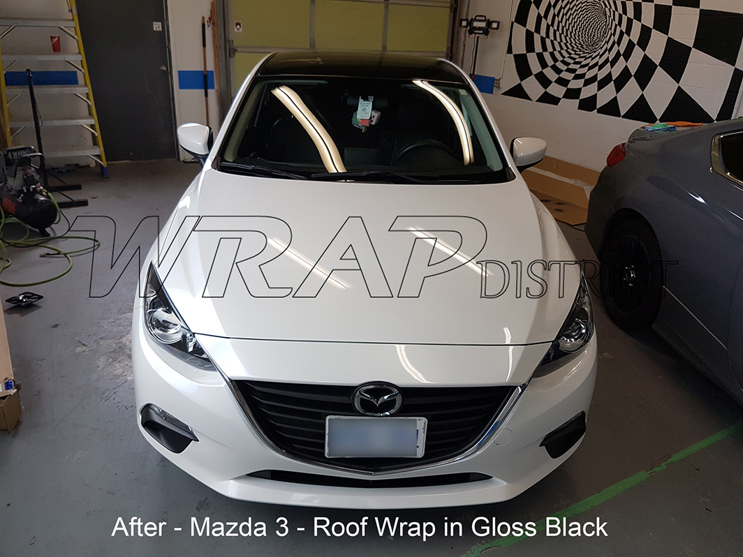 Mazda 3 Roof And Spoiler Wrap In Gloss Black Wrap District