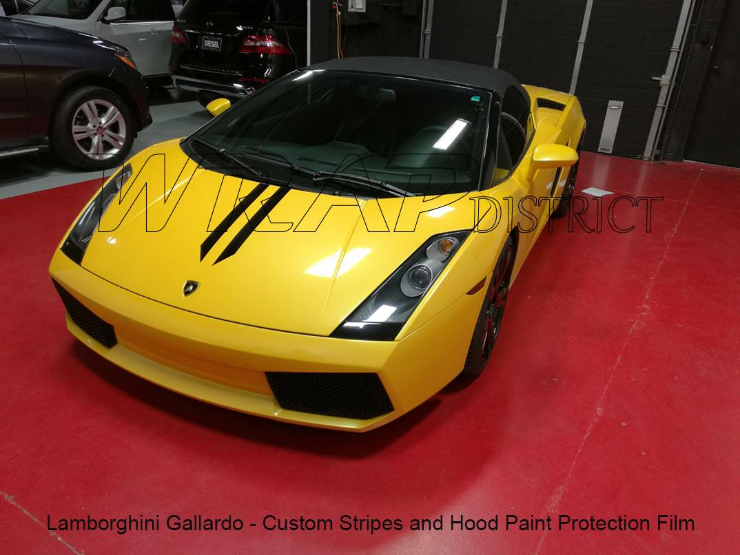 Car Paint Protection >> Lamborghini Gallardo Custom Stripes and Hood Paint Protection Film - Wrap District
