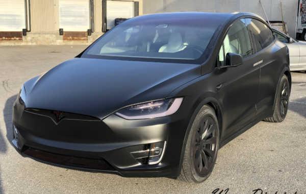 Tesla Model X Wrapped in Satin Black