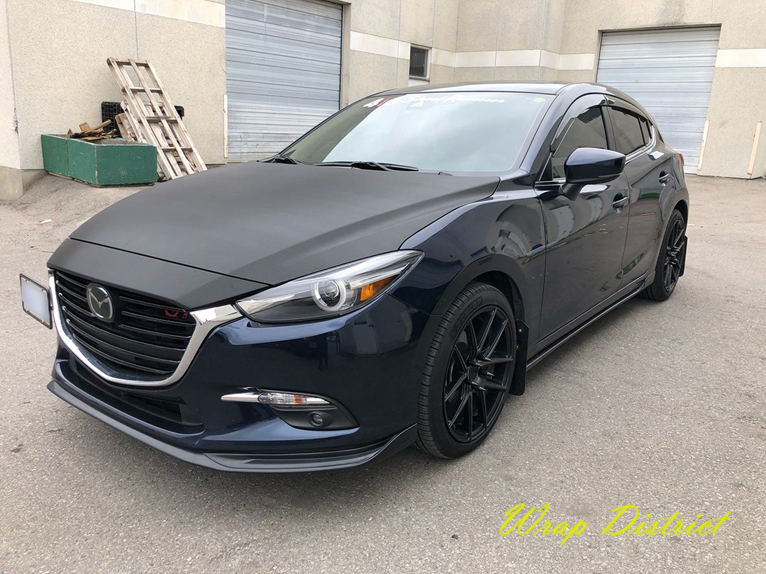 Mazda 3 Hood Wrapped In Carbon Fiber Wrap District