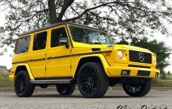 G Wagon Wrapped in Gloss Bright Yellow