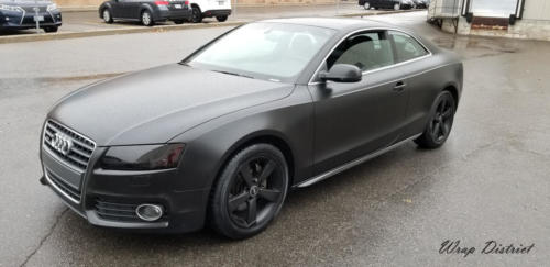 Audi A5 - Wrapped in Satin Black, Complete Chrome Delete, Lights Tinting
