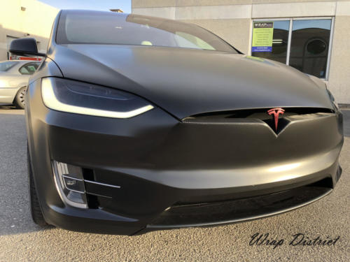 Tesla Model X Wrapped in Satin Black/Complete Chrome Delete