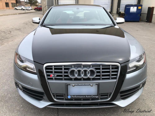 Audi S4 - Custom Design on a Hood & Roof Wrapped in Gloss Black