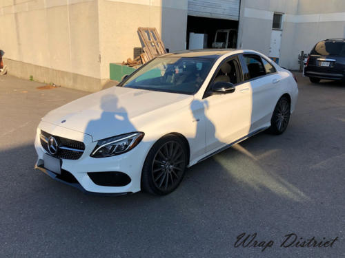Mercedes C63 AMG - Roof and a Spoiler Wrapped in Gloss White